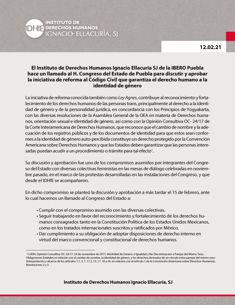 Exige Ibero Puebla al Congreso la aprobación e la de la Ley Agnes