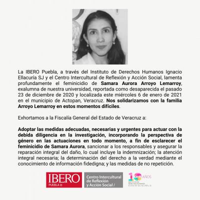 Ibero Puebla exige justicia por el feminicidio de Samara Aurora Arroyo Lemarroy