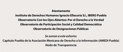 Exhorta Ibero Puebla al Congreso cumplir la ley para el ITAIPUE