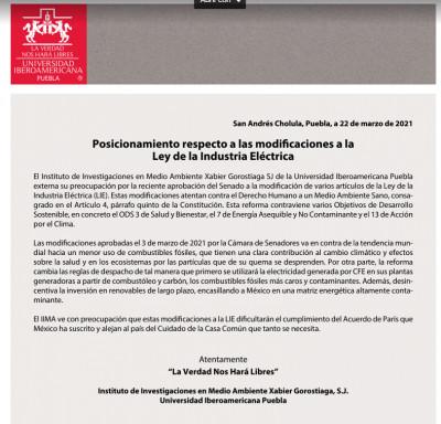 Posicionamiento Ibero Puebla sobre las modificaciones a la  Ley de la Industria Eléctrica